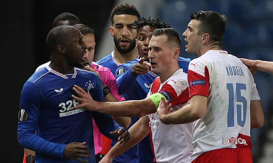 Rangers' Finnish midfielder Glen Kamara (left) alleges that Slavia Prague's Ondrej Kudela made racist comments to him in the closing minutes of the Europa League second leg.