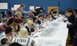 Staff counting ballot papers in the Stoke-on-Trent Central byelection