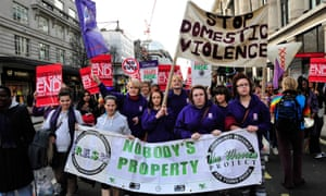 A protest in central London, demanding an end to domestic violence. The majority of killings (68%) occurred either in or immediately around the woman's house.