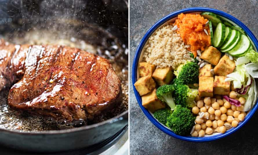 Steak and a healthy vegetarian meal with pulses.