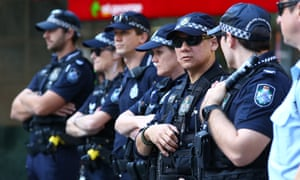 Queensland police during Wednesday's march in Brisbane.