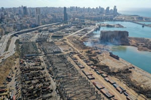 An aerial view of the port's grain silos one day after the blast tore through the harbour in the heart of the Lebanese capital. Killing more than 100 people and injuring over 5,000