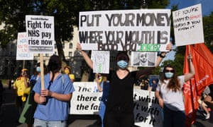 People demand fair pay for NHS staff and other key workers during a London protest in July.
