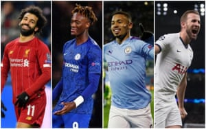 Left to right: Mohamed Salah, Tammy Abraham, Gabriel Jesus and Harry Kane.