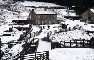 County Durham, UK: A snow covered Killhope slate mine after Storm Freya
