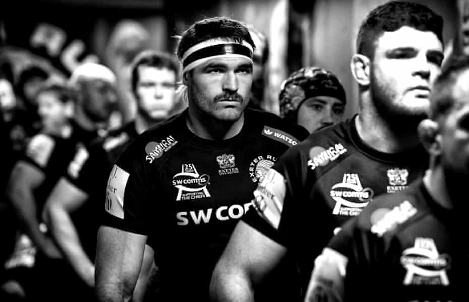 Dom Armand waits in the Sandy Park tunnel before the Premiership match between Exeter and Wasps in November 2019