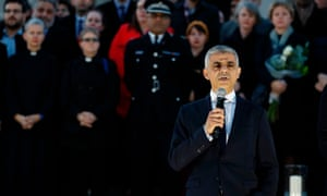 The mayor of London, Sadiq Khan, speaks during the vigil in Trafalgar Square to honour the victims of yesterday's terror attack.