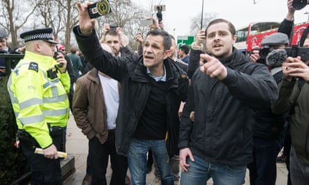 Supporters of the Football Lads Alliance join alt-right group Generation Identity at a rally in Hyde Park, opposed by antifascists.