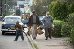 Ambling along … Denzel Washington with Stephen Henderson in Fences.