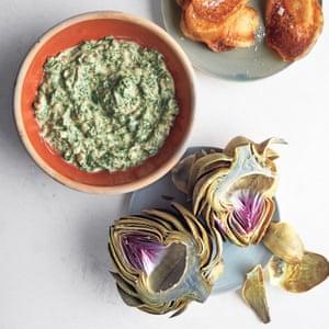 Globe artichokes with herb dip.