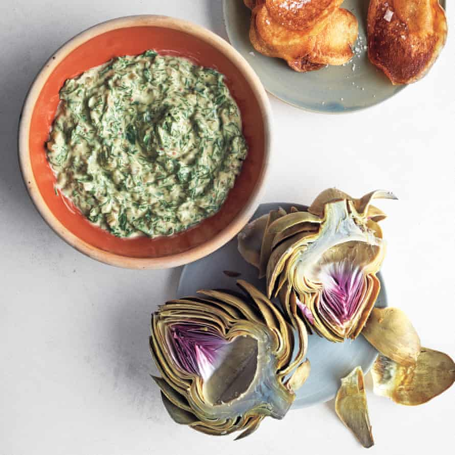 Globe artichokes with herb dip.