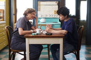 Annette Bening as Dorothea and Lucas Jade Zumann as her son, Jamie, in 20th Century Women