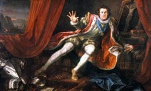 English actor David Garrick (1717-1779) as Richard III, the 19th-century Wild West's favourite play.