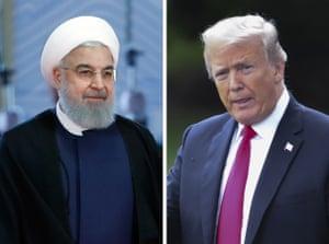 Iranian president Hassan Rouhani and US president Donald Trump