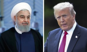 The Iranian president, Hassan Rouhani, and Donald Trump, the US president
