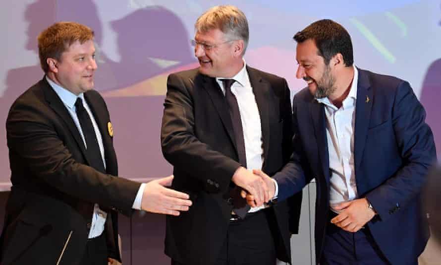 Olli Kotro, Jörg Meuthen and Salvini at Monday's meeting.