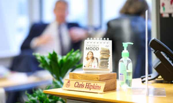 A bottle of hand sanitiser sits on the desk of New Zealand Covid-19 response minister Chris Hipkins.
