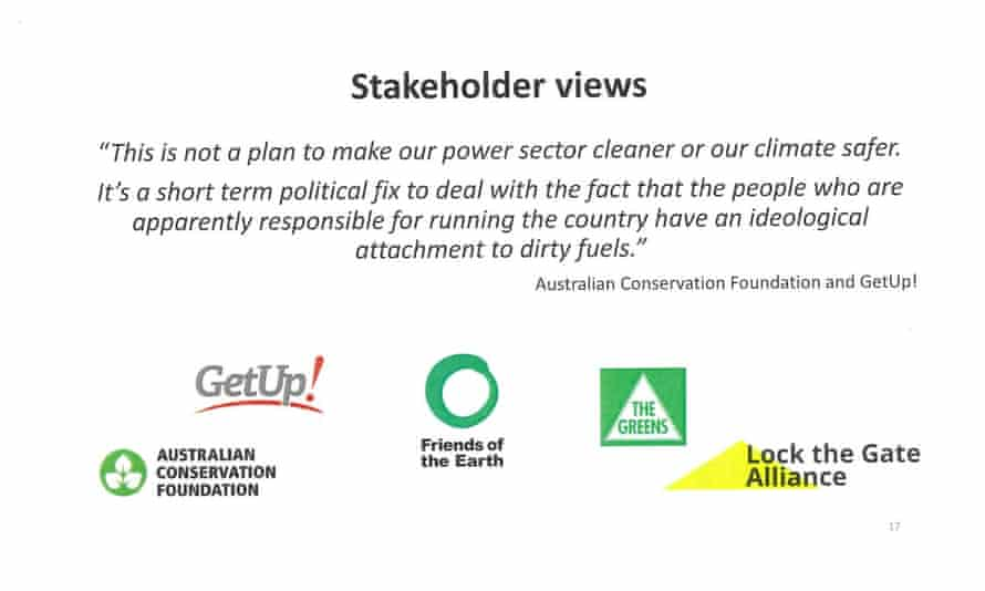 Page 17 of presentation by Josh Frydenberg to the Coalition party room on the Finkel review