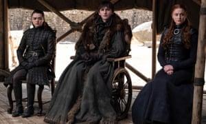 Bran the Broken, with Arya and Sansa.