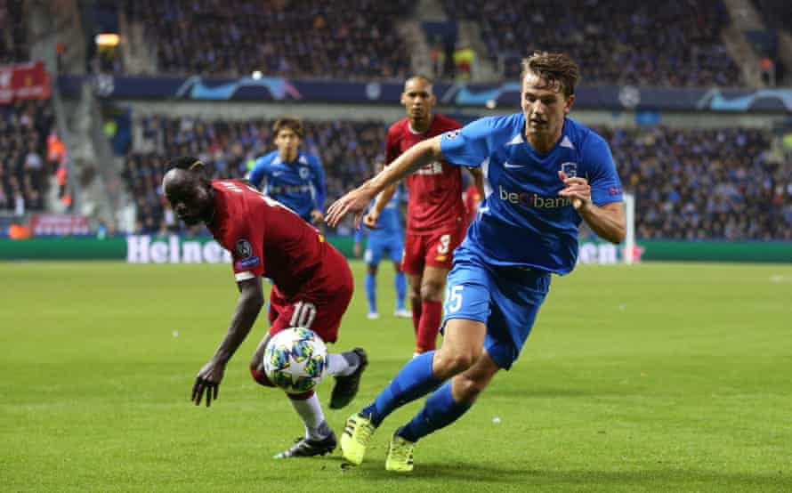 Sander Berge battles for the ball with Sadio Mane when Berge played for Genk against Liverpool in the Champions League.