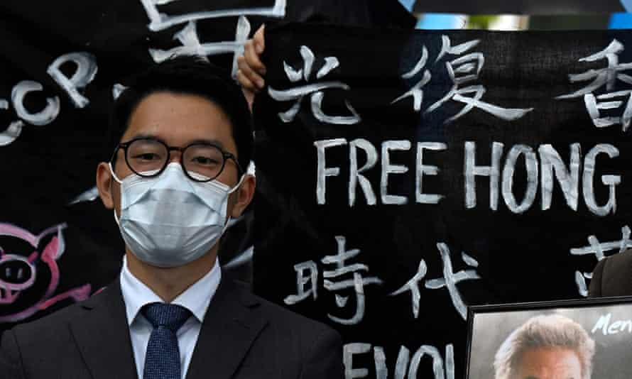 Hong Kong democracy activist Nathan Law, above, criticises the 'hedging strategy' of the UK over China sanctions.