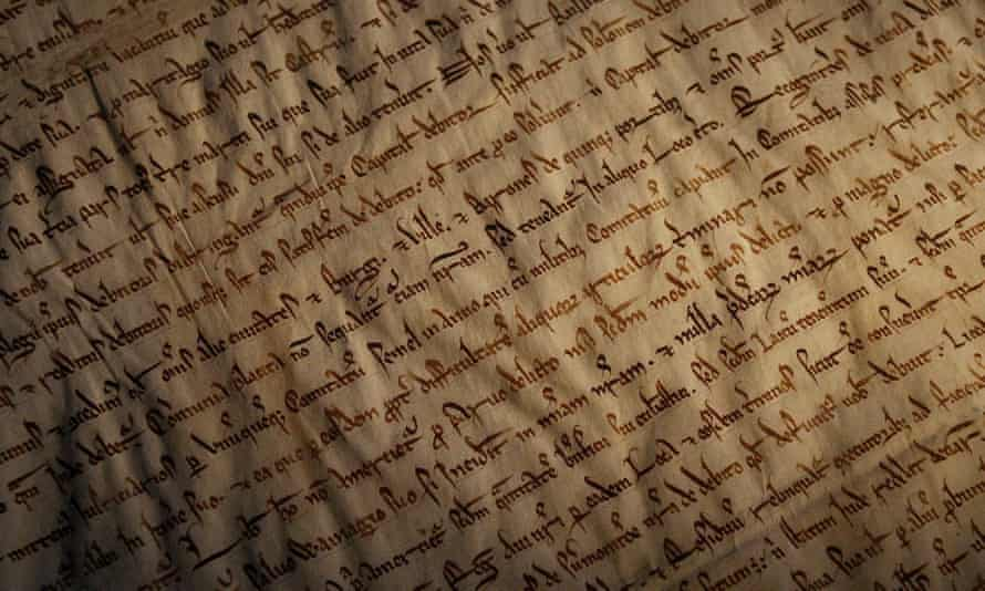An extract of Magna Carta, the great charter of English liberties, on display at Bodleian Library, Oxford.