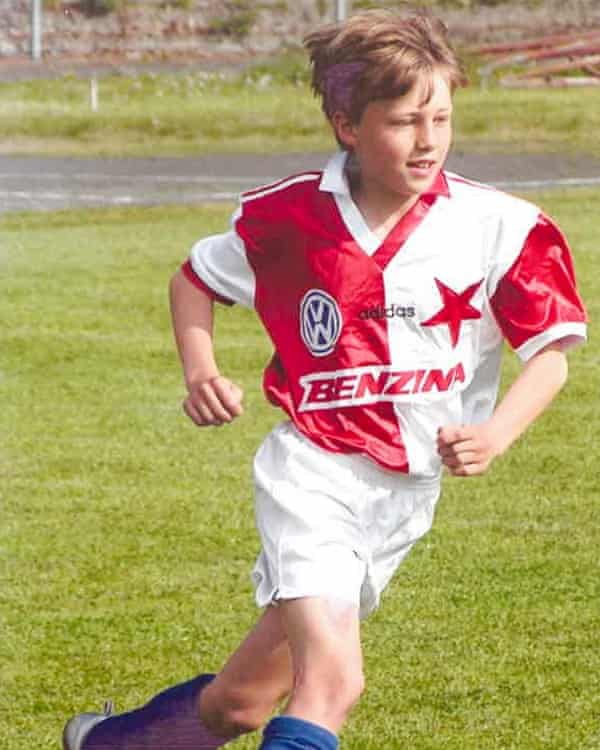 Soucek playing junior football for Slavia Prague. He began to train with Slaiva aged 10 and joined them full-time aged 15.