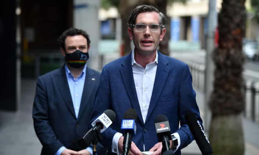 NSW treasurer Dominic Perrottet and minister for western Sydney Stuart Ayres speak to the media in Sydney, Sunday, 3 October, 2021.