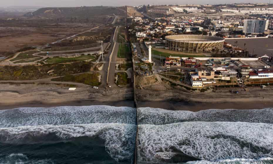 An aerial view of the US-Mexico border fence seen from Playas de Tijuana, Baja California.