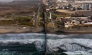 The border fence meets the Pacific coast between San Ysidro, California, and Tijuana in Mexico