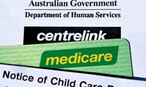 Stock photograph showing the  Australian Government's Centerlink and Medicare branding, Thursday, April 23, 2015. (AAP Image/Dave Hunt) NO ARCHIVING
