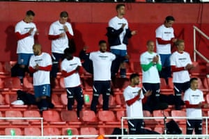 Norway's players wear T-shirts bearing the message 'human rights on and off the pitch' before a qualifying match for the World Cup