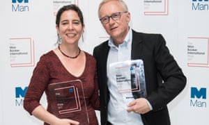 Jessica Cohen and David Grossman collecting the Man Booker International prize for A Horse Walks Into a Bar.