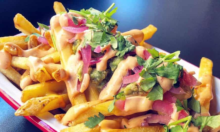 Pasta and vegetable meal in close-up from V Rev Vegan Diner, Manchester, UK.