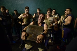 Jose Ramon Izeta holds a 100kg stone during a competition in which contestants lift huge weights as many times as they can