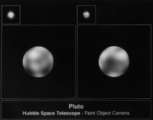 Hubble photos of Pluto taken with the European Space Agency's Faint Object Camera from 1994.<br>
