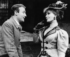 Edward Woodward and Fenella Fielding during rehearsals for the play The High Bid at the Mermaid Theatre, London on 17 October 1967