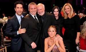Still Friends? … (left to right) David Schwimmer, Matt LeBlanc, James Burrows, Jennifer Aniston, Courteney Cox, Lisa Kudrow.