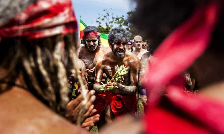 Dancers perform at The Yabun Festival in Sydney on 26 January