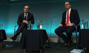 German foreign minister, Heiko Maas (left), with his Irish counterpart, Simon Coveney, in Dublin on Tuesday.