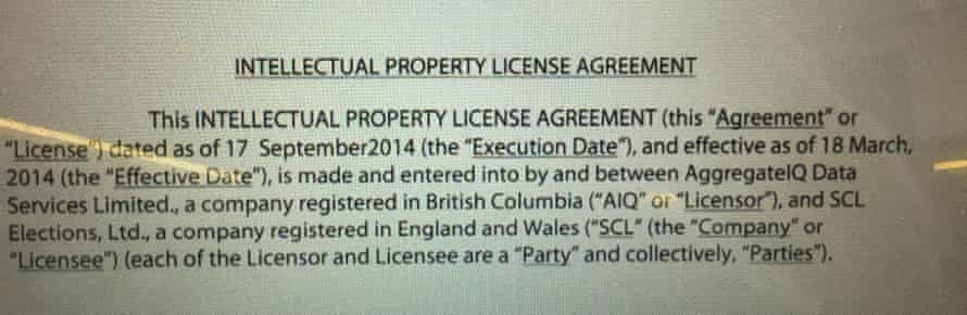 The leaked intellectual property licence document that shows a link between AggregateIQ and SCL Elections (the company behind Cambridge Analytica).