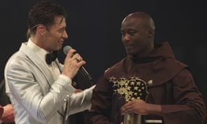 Peter Tabichi (right) with Hugh Jackman after winning the Varkey Foundation Global Teacher prize