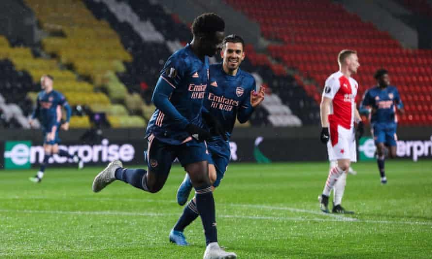 Bukayo Saka celebrates scoring during Arsenal's one-sided win in Prague