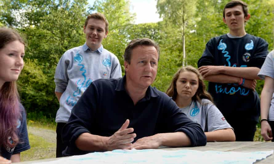 Then-PM David Cameron at the Oaklands Outdoor Education Centre, Snowdonia, August 2015.