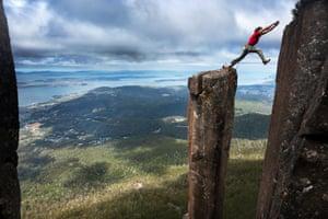 Climbing Guide John Fischer jumps from Albert's Tomb
