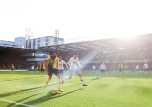 Adrian Mariappa of Watford competes with Son Heung-min of Tottenham Hotspur during their 0-0 draw in the early kick-off on Saturday.