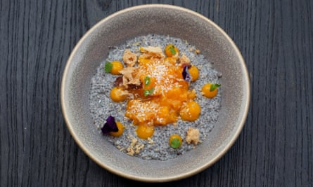 'A pleasing mess of chia seeds': coconut milk pudding with mango.