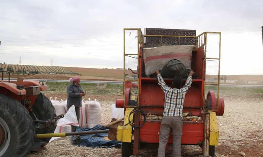 Image of farm workers taken from Isis propaganda footage