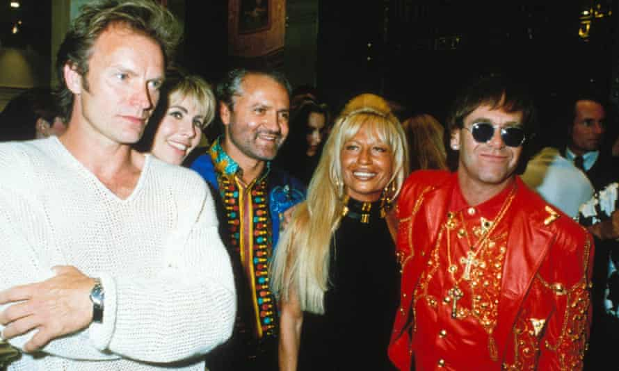 With Sting, Trudie Styler, Gianni and Donatella Versace, 1997.