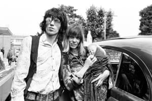Keith Richards and Anita Pallenberg, with their newborn son Marlon, London, 1969